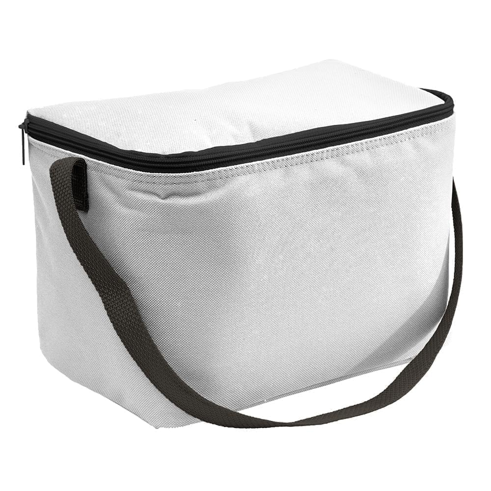 USA Made Nylon Poly 6 Pack Coolers, White-Black, 100960-A3R