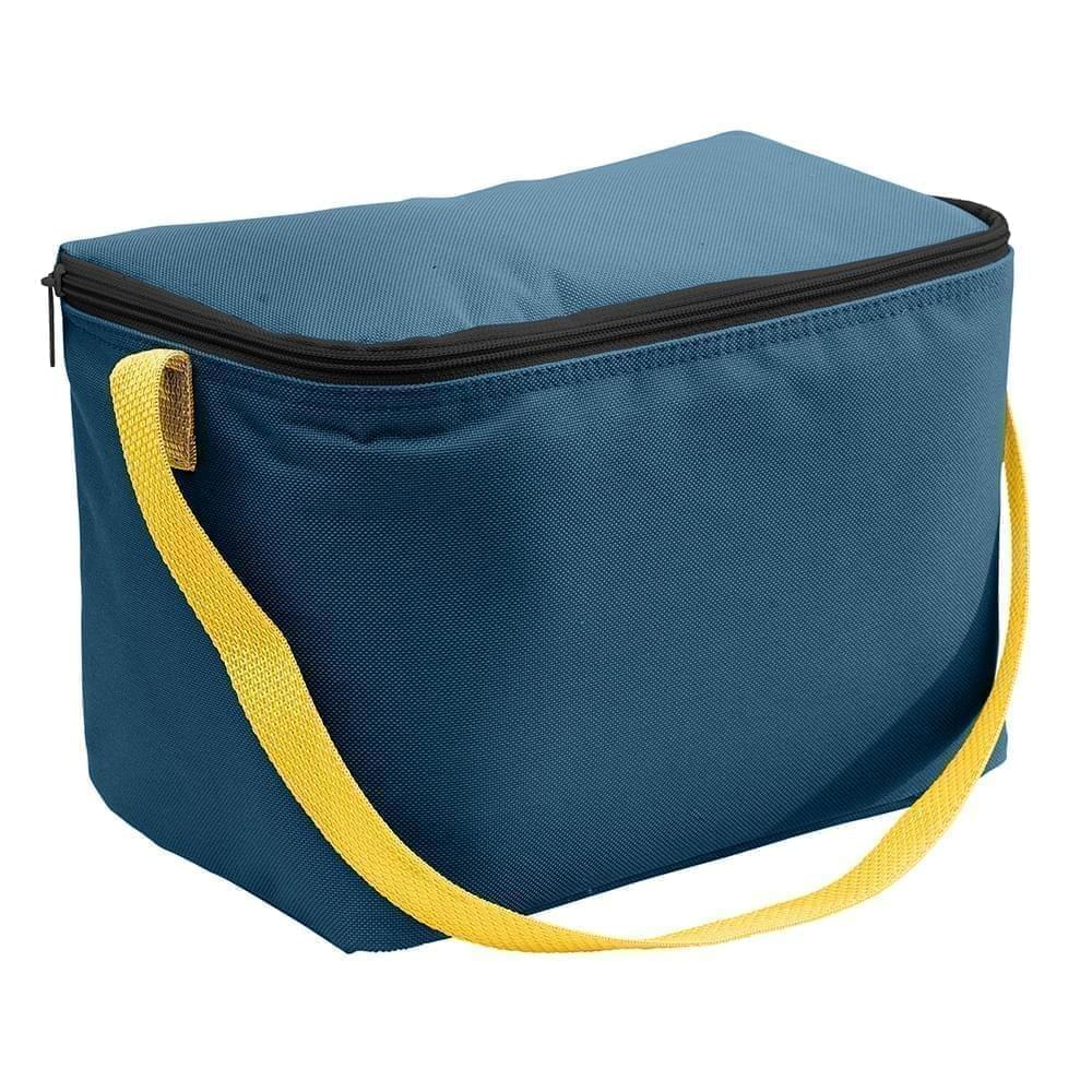 USA Made Nylon Poly 6 Pack Coolers, Navy-Gold, 100960-AW5