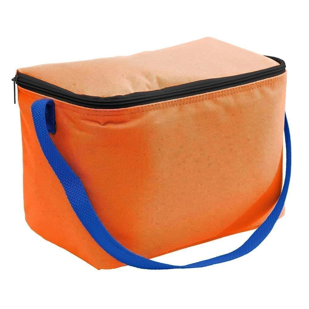 USA Made Nylon Poly 6 Pack Coolers, Orange-Royal, 100960-AX3