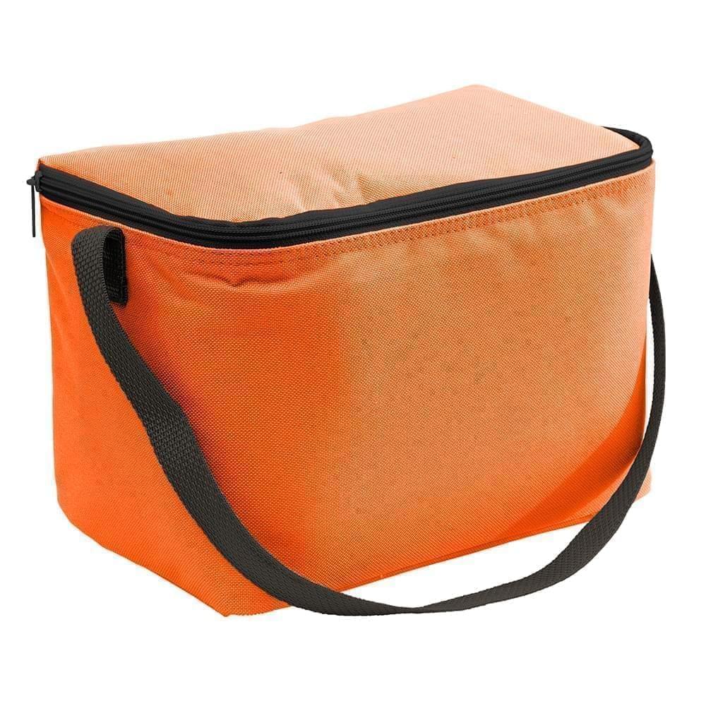 USA Made Nylon Poly 6 Pack Coolers, Orange-Black, 100960-AXR