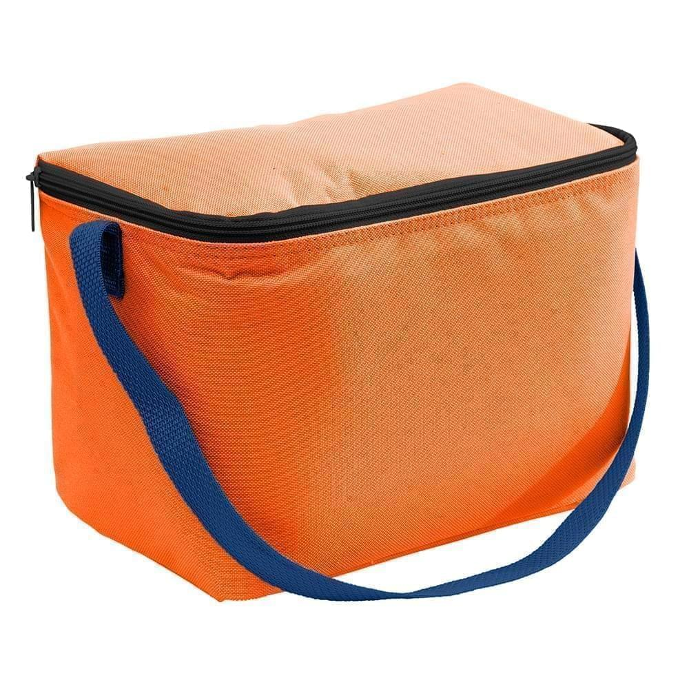 USA Made Nylon Poly 6 Pack Coolers, Orange-Navy, 100960-AXZ