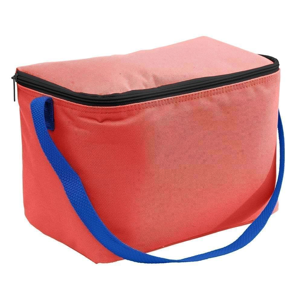 USA Made Nylon Poly 6 Pack Coolers, Red-Royal, 100960-AZ3