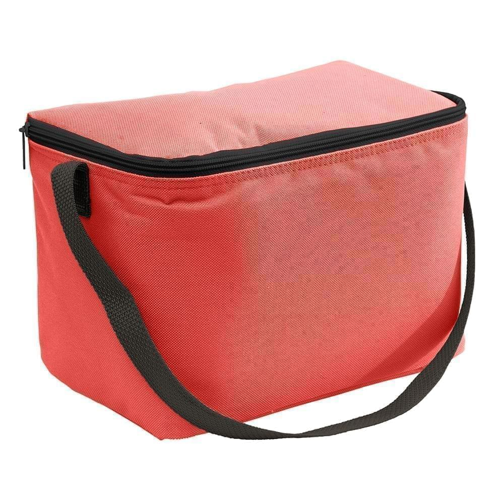 USA Made Nylon Poly 6 Pack Coolers, Red-Black, 100960-AZR