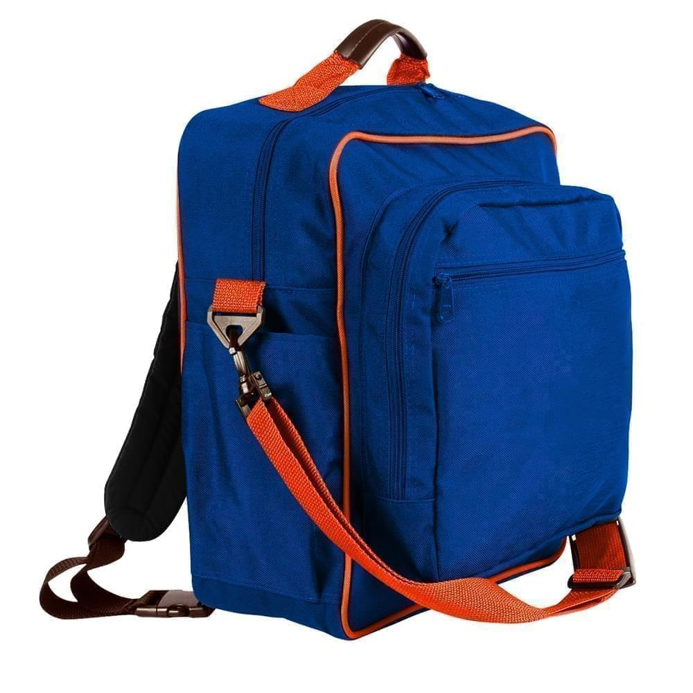 USA Made Poly Daypack Rucksacks, Royal Blue-Orange, 1070-A00