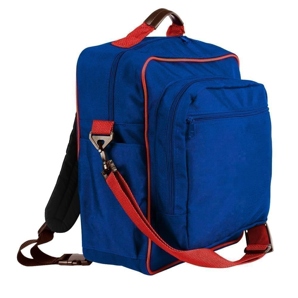 USA Made Poly Daypack Rucksacks, Royal Blue-Red, 1070-A02