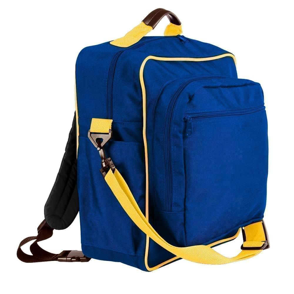 USA Made Poly Daypack Rucksacks, Royal Blue-Gold, 1070-A05