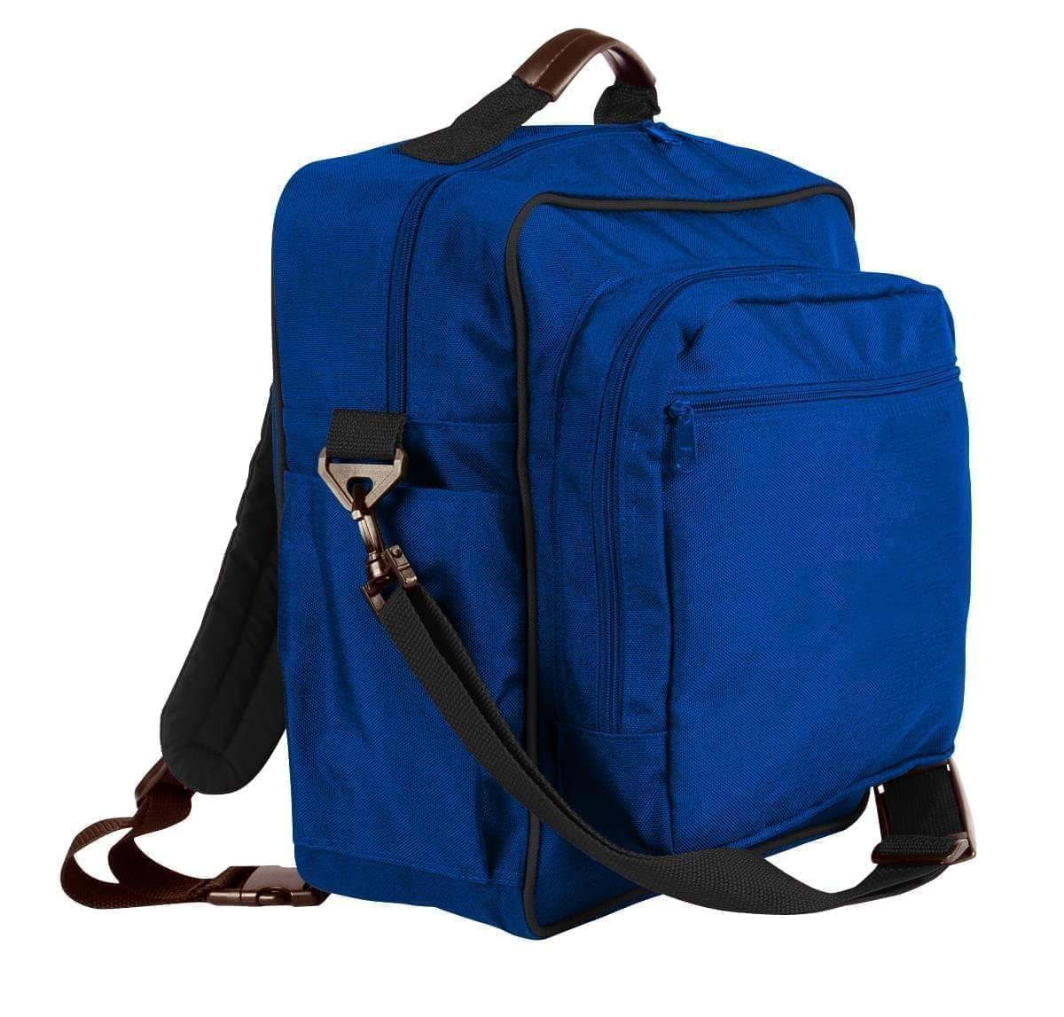 USA Made Poly Daypack Rucksacks, Royal Blue-Black, 1070-A0R