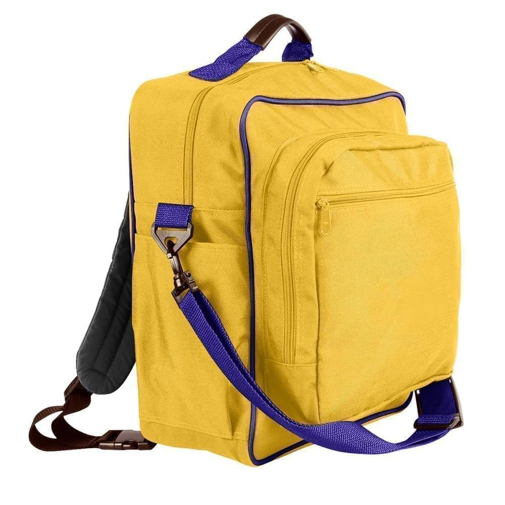 USA Made Poly Daypack Rucksacks, Gold-Purple, 1070-A41