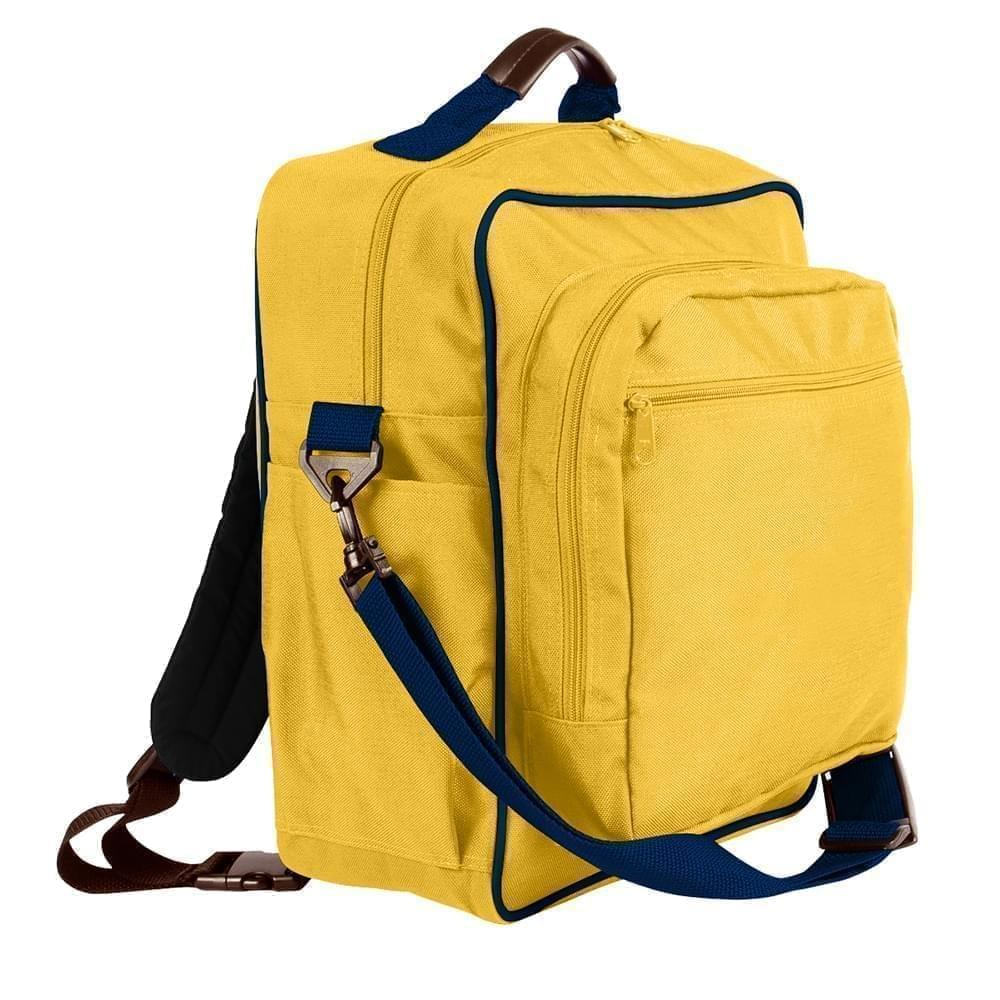 USA Made Poly Daypack Rucksacks, Gold-Navy, 1070-A4Z