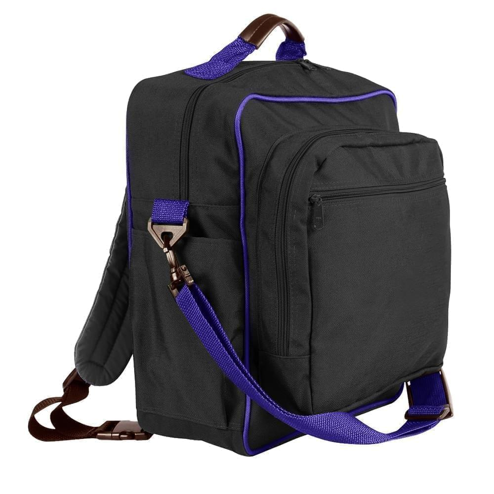 USA Made Poly Daypack Rucksacks, Black-Purple, 1070-AO1