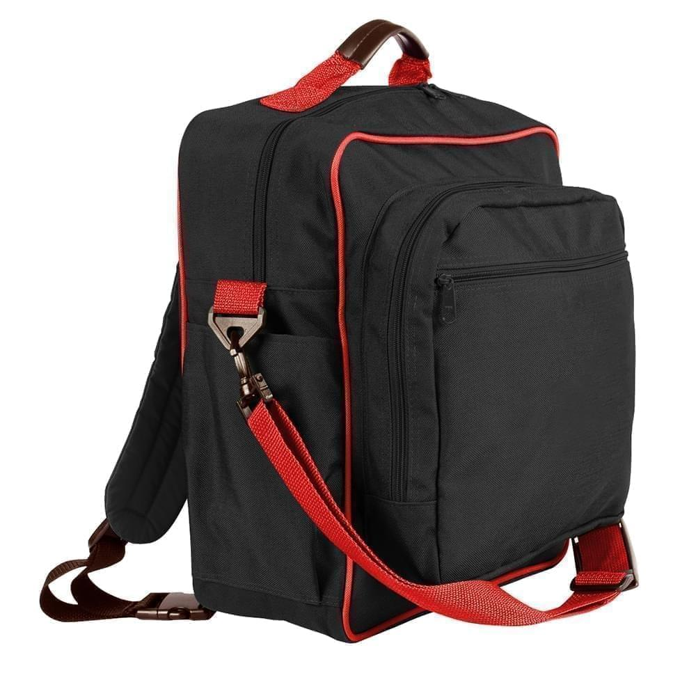USA Made Poly Daypack Rucksacks, Black-Red, 1070-AO2