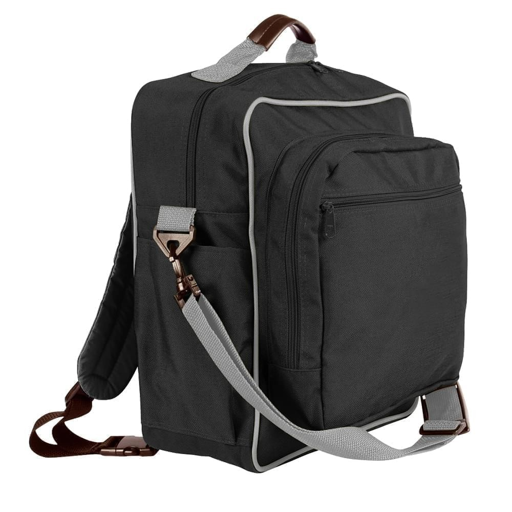 USA Made Poly Daypack Rucksacks, Black-Grey, 1070-AOU
