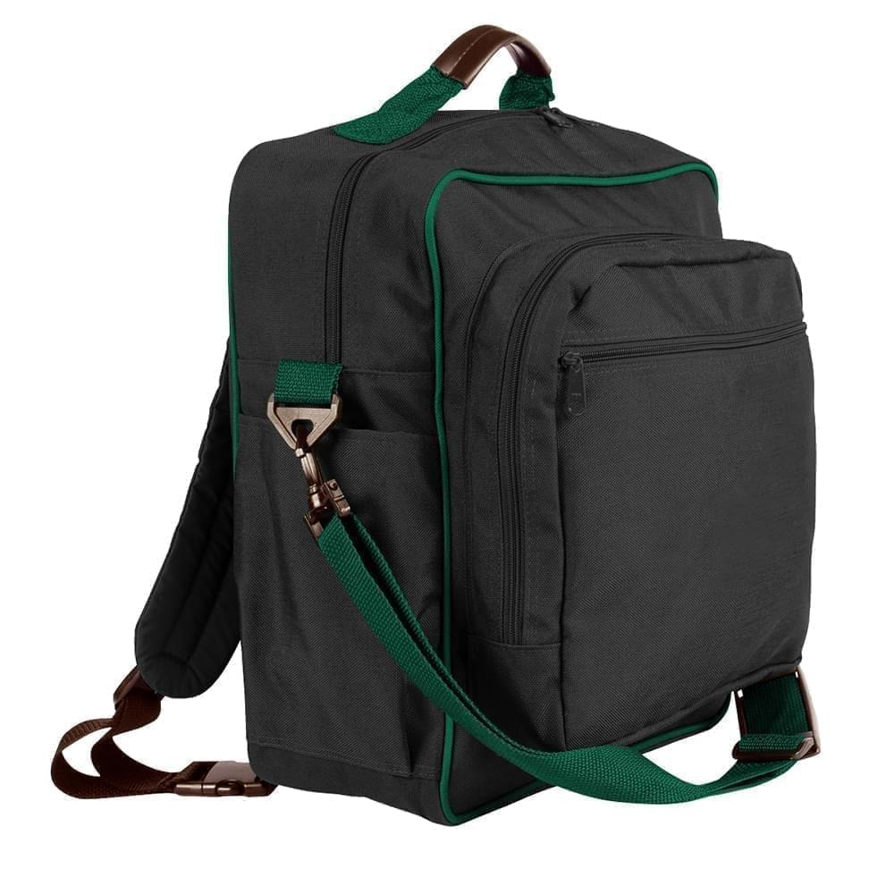 USA Made Poly Daypack Rucksacks, Black-Hunter Green, 1070-AOV