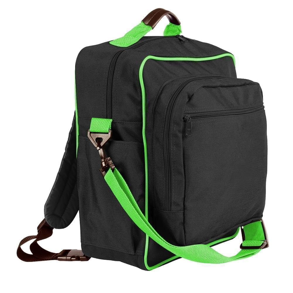 USA Made Poly Daypack Rucksacks, Black-Lime, 1070-AOY