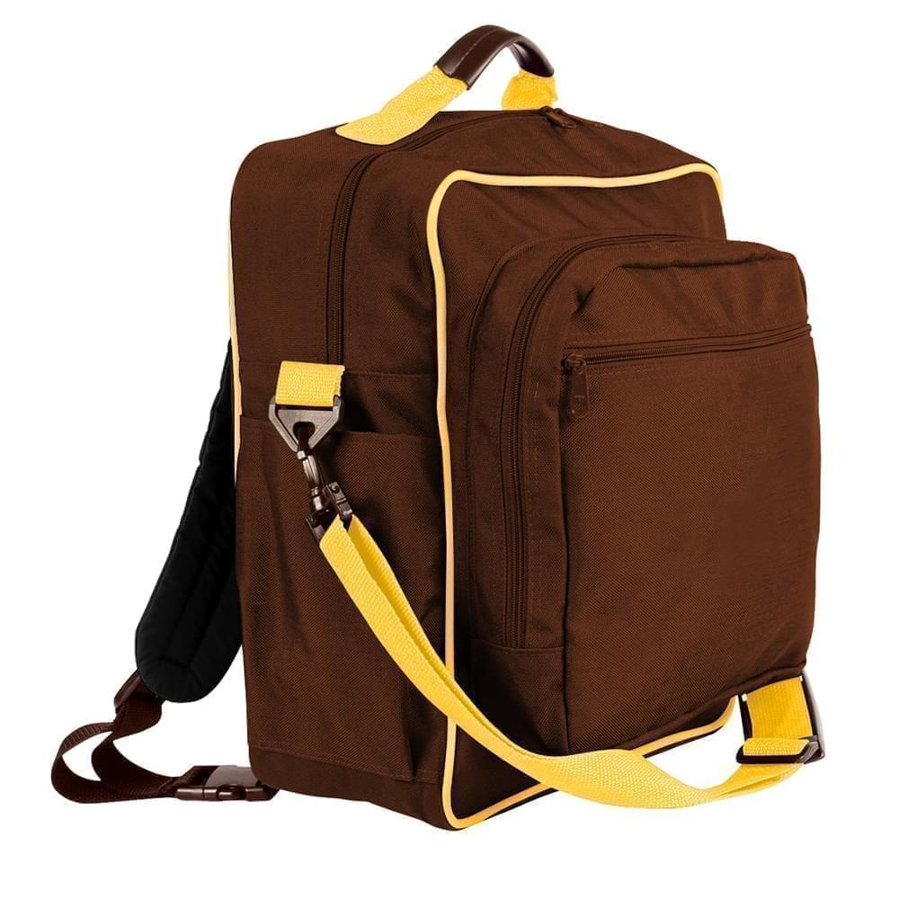 USA Made Poly Daypack Rucksacks, Brown-Gold, 1070-AP5