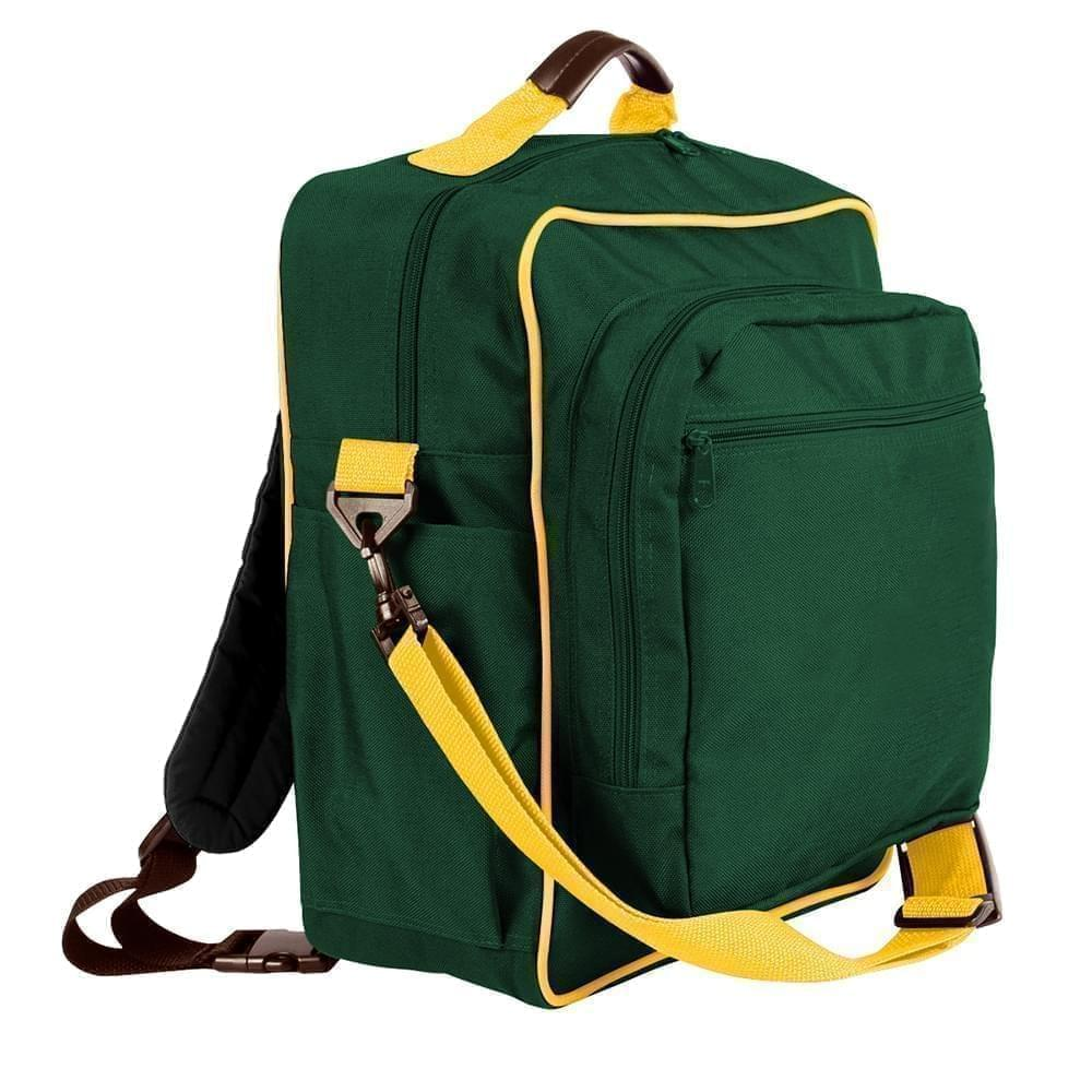 USA Made Poly Daypack Rucksacks, Hunter Green-Gold, 1070-AS5