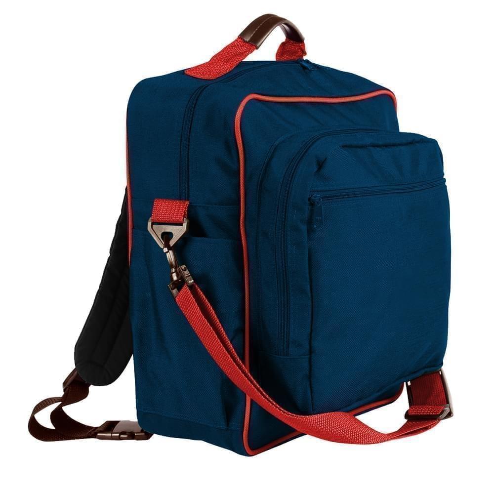 USA Made Poly Daypack Rucksacks, Navy-Red, 1070-AW2