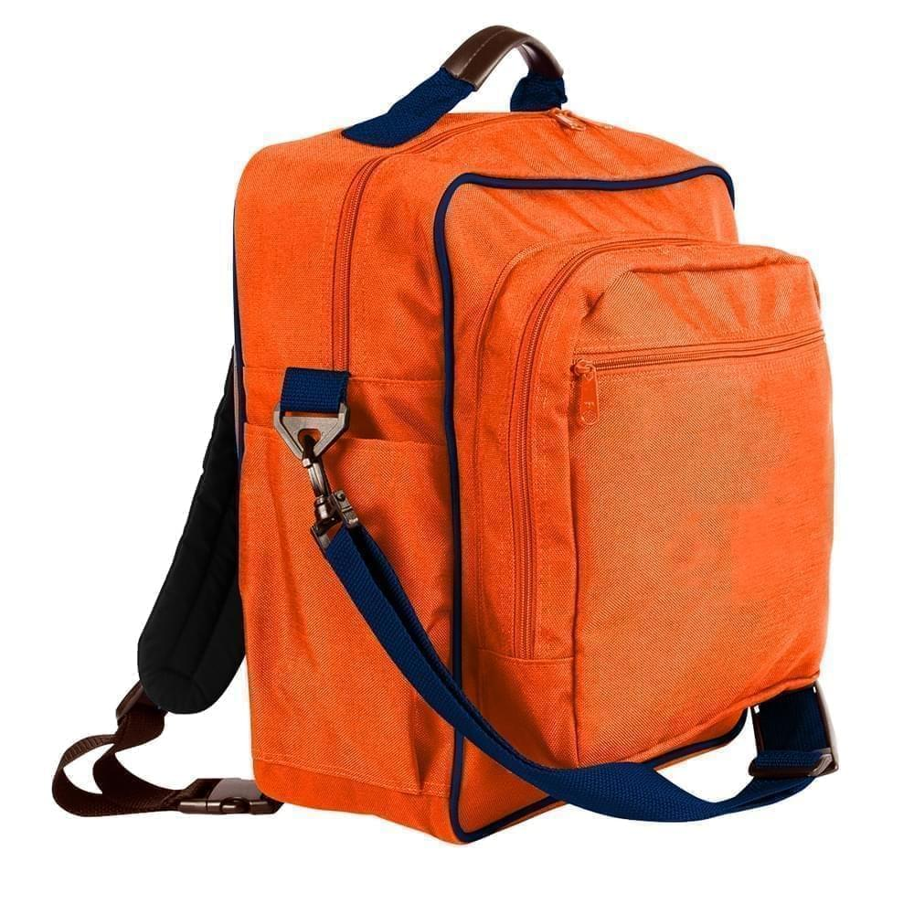 USA Made Poly Daypack Rucksacks, Orange-Navy, 1070-AXZ