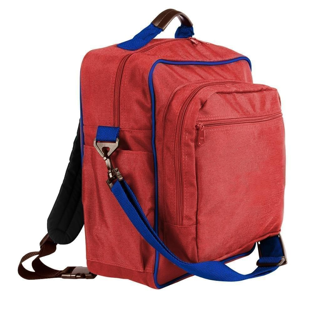 USA Made Poly Daypack Rucksacks, Red-Royal Blue, 1070-AZ3