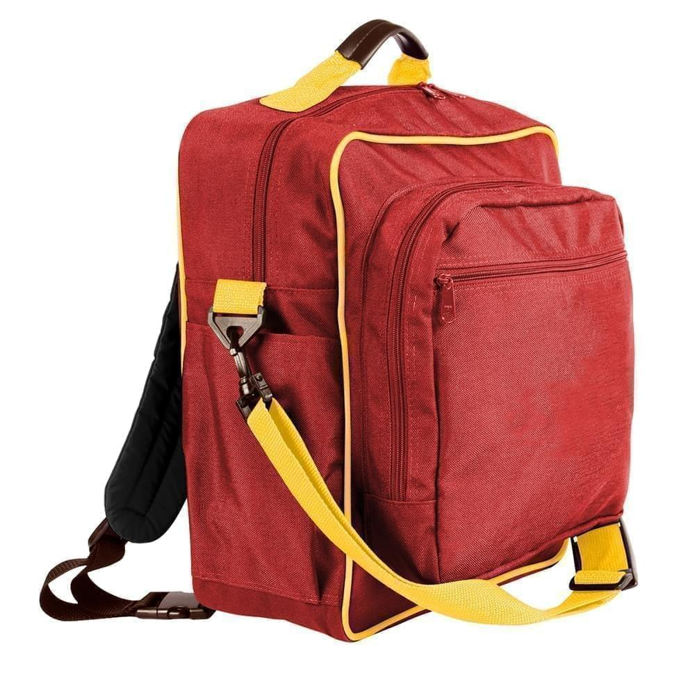 USA Made Poly Daypack Rucksacks, Red-Gold, 1070-AZ5