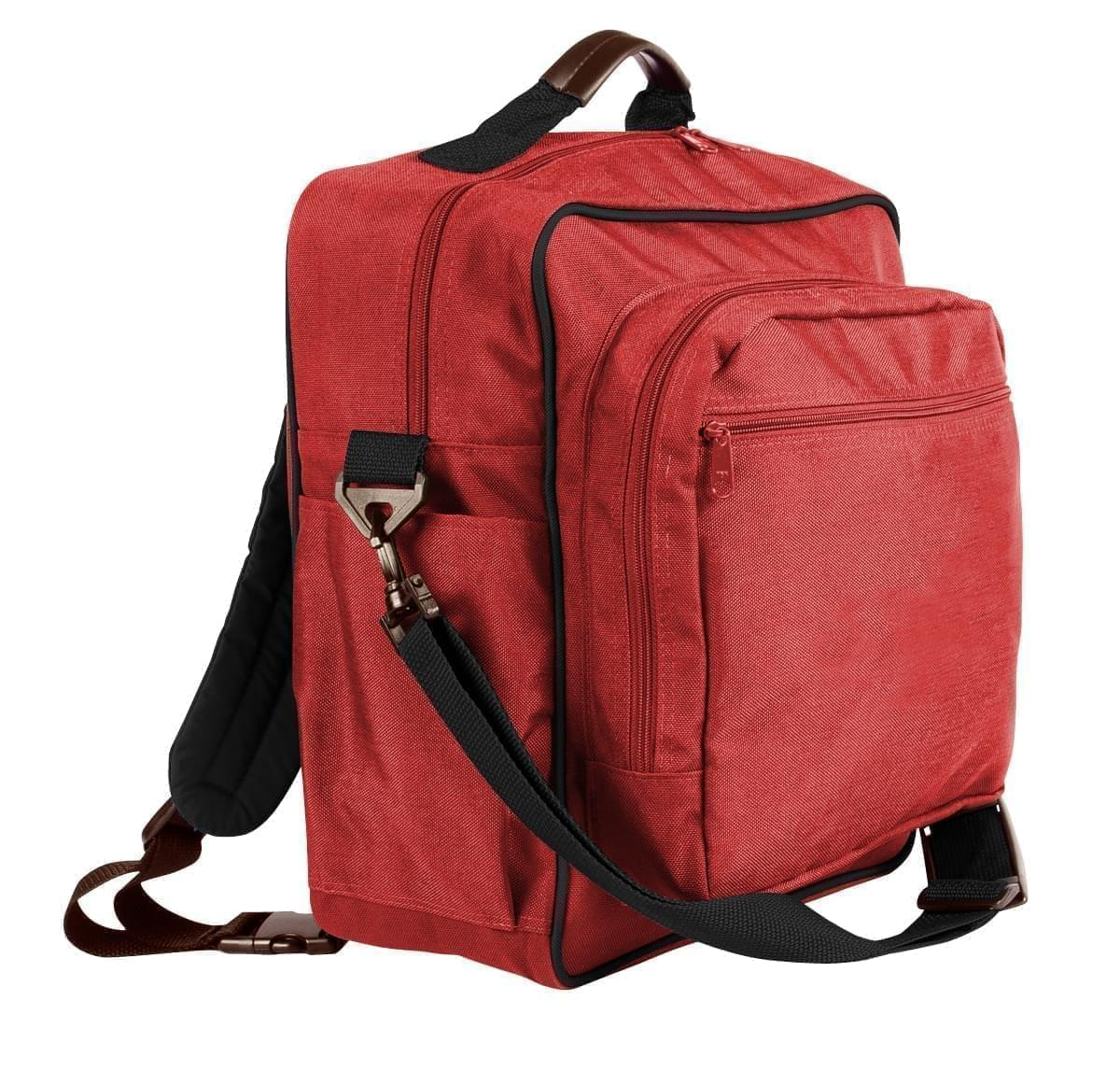 USA Made Poly Daypack Rucksacks, Red-Black, 1070-AZR
