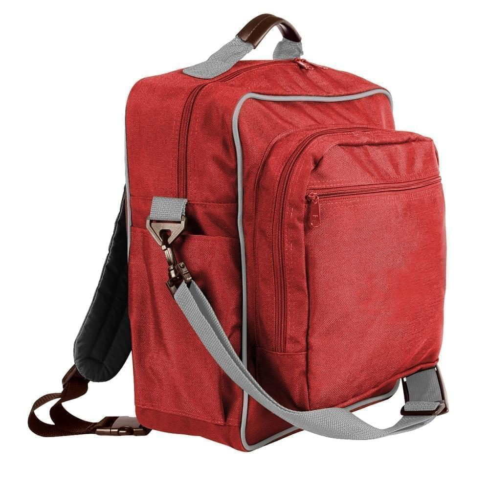 USA Made Poly Daypack Rucksacks, Red-Grey, 1070-AZU
