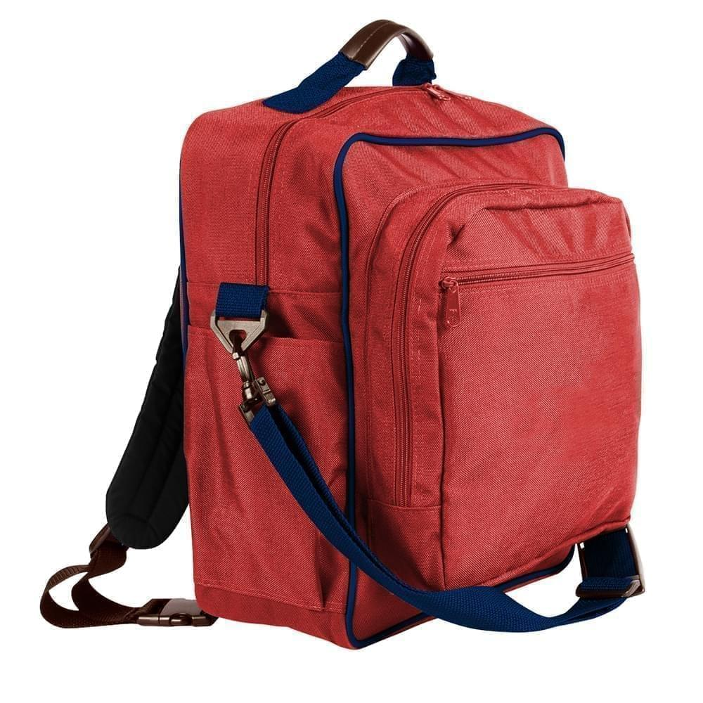 USA Made Poly Daypack Rucksacks, Red-Navy, 1070-AZZ