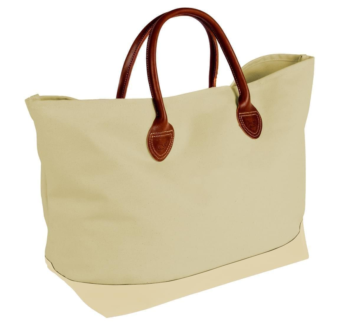 USA Made Canvas Leather Handle Totes, Natural-Natural, 10899-AK9
