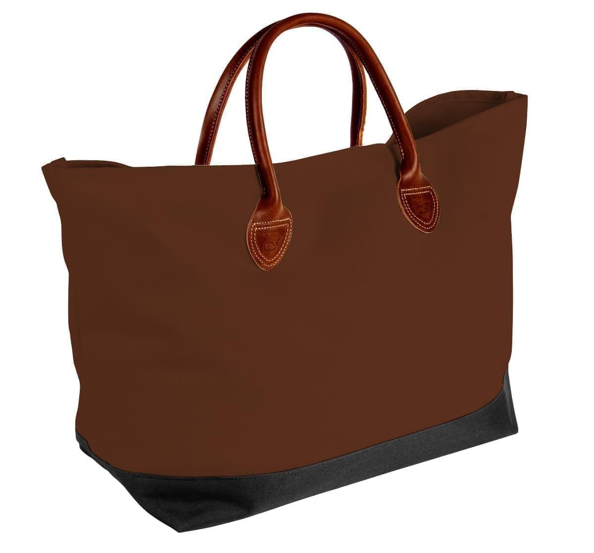 USA Made Canvas Leather Handle Totes, Brown-Black, 10899-CA9
