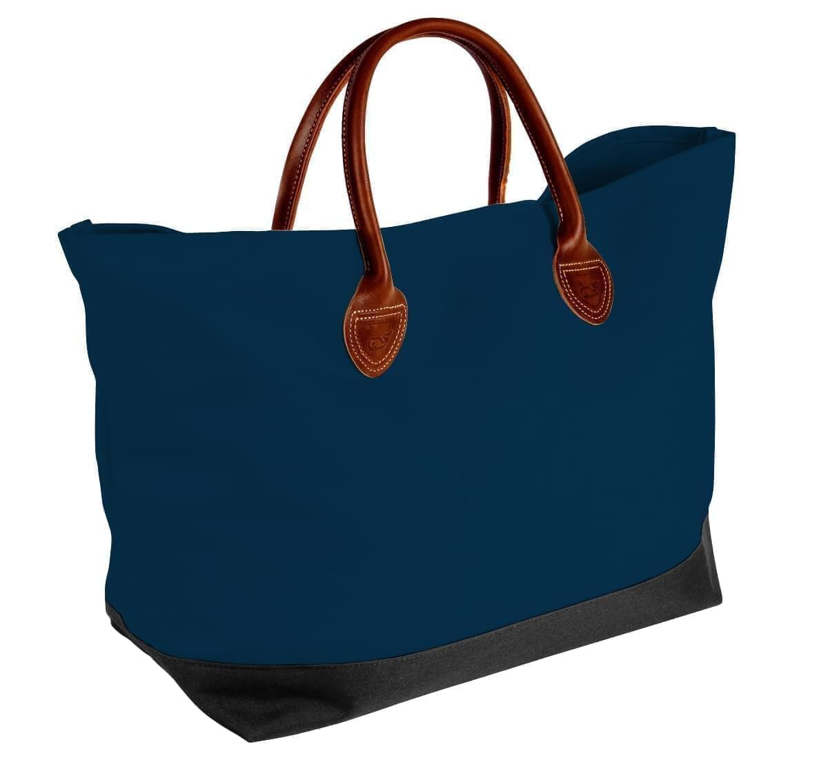USA Made Canvas Leather Handle Totes, Navy-Black, 10899-CC9