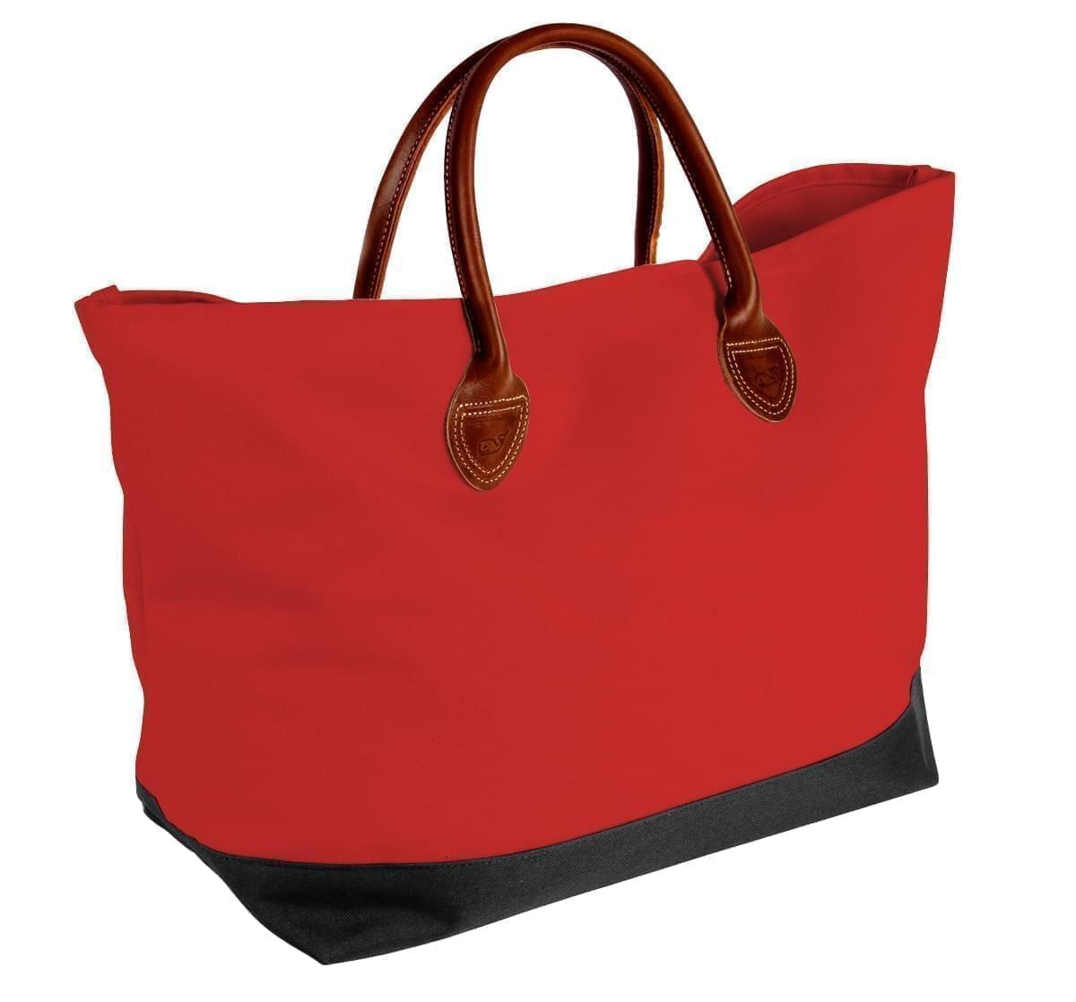 USA Made Canvas Leather Handle Totes, Red-Black, 10899-CE9