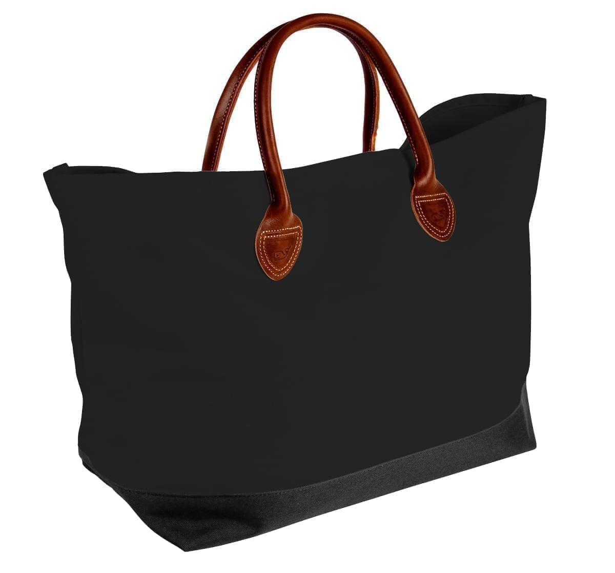 USA Made Canvas Leather Handle Totes, Black-Black, 10899-CH9