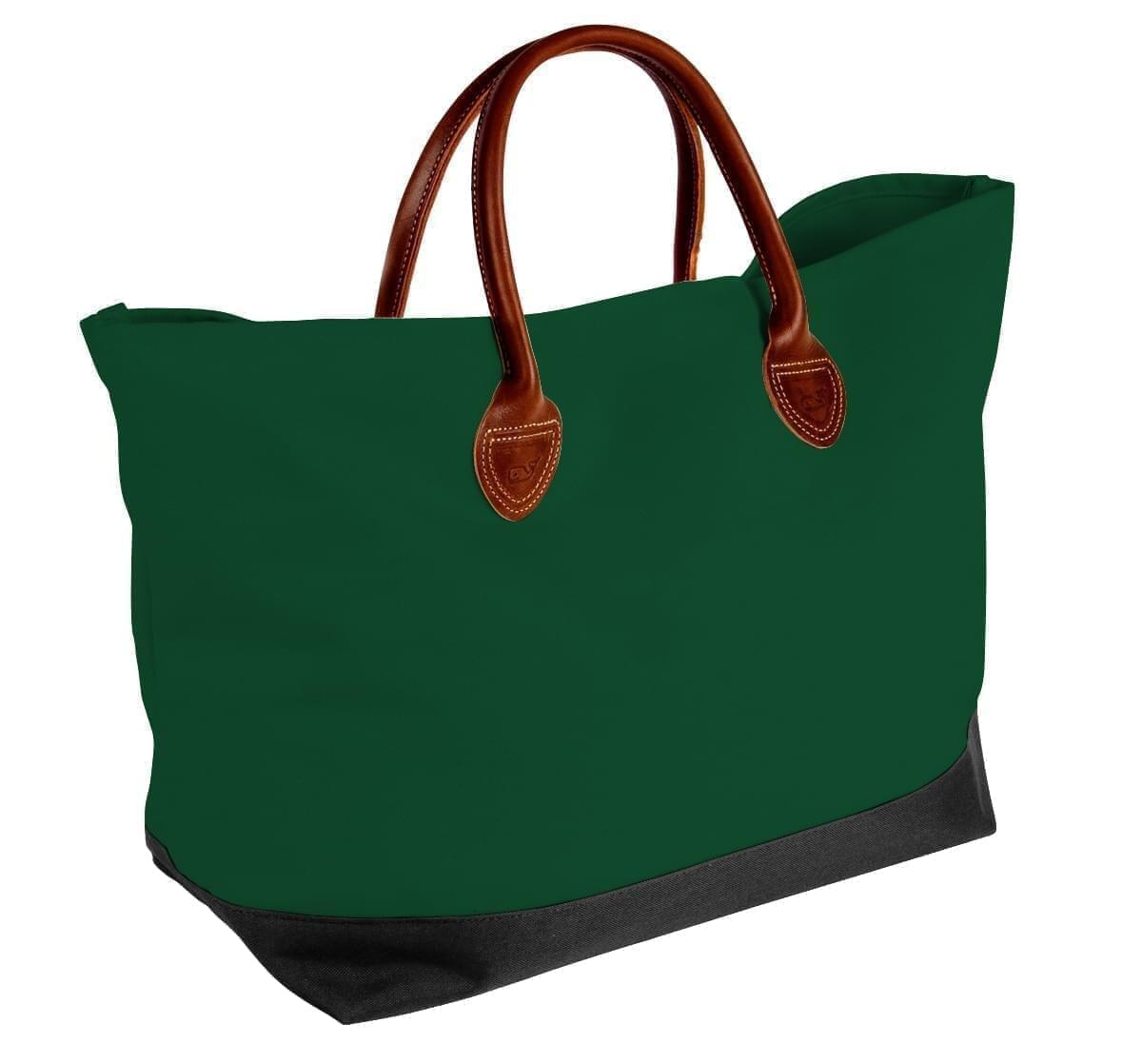 USA Made Canvas Leather Handle Totes, Hunter Green-Black, 10899-CI9