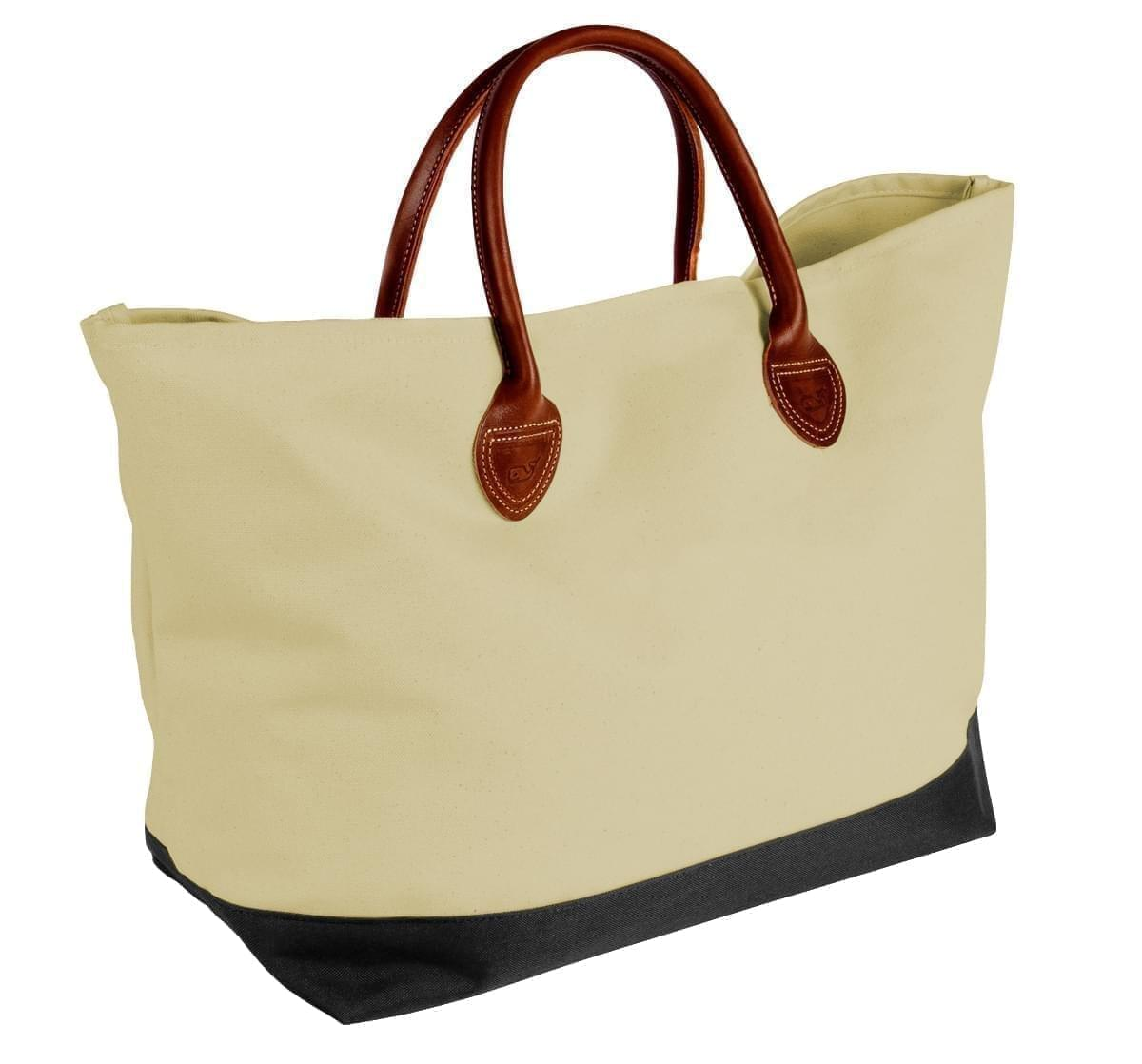USA Made Canvas Leather Handle Totes, Natural-Black, 10899-CK9