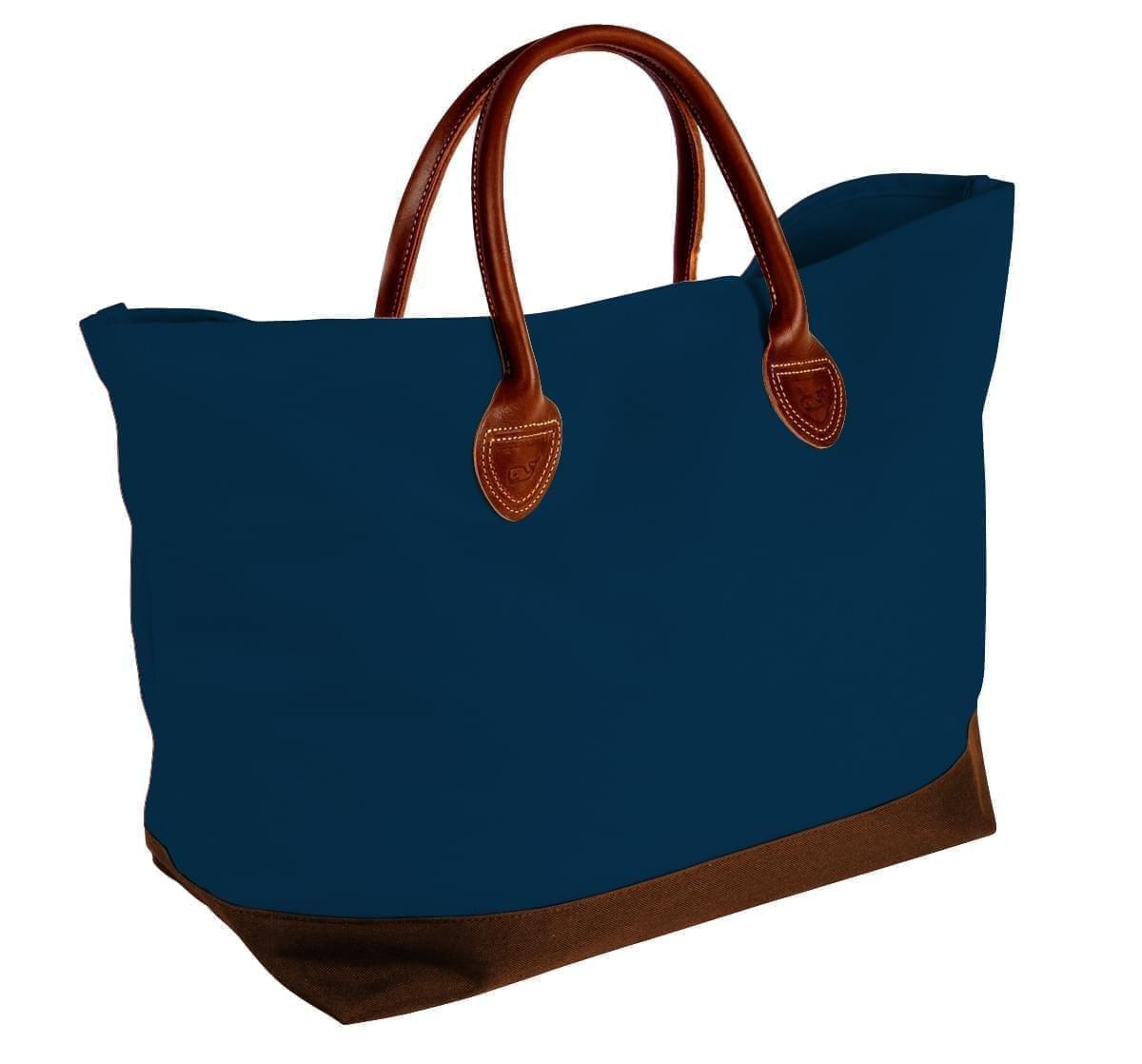 USA Made Canvas Leather Handle Totes, Navy-Brown, 10899-DC9