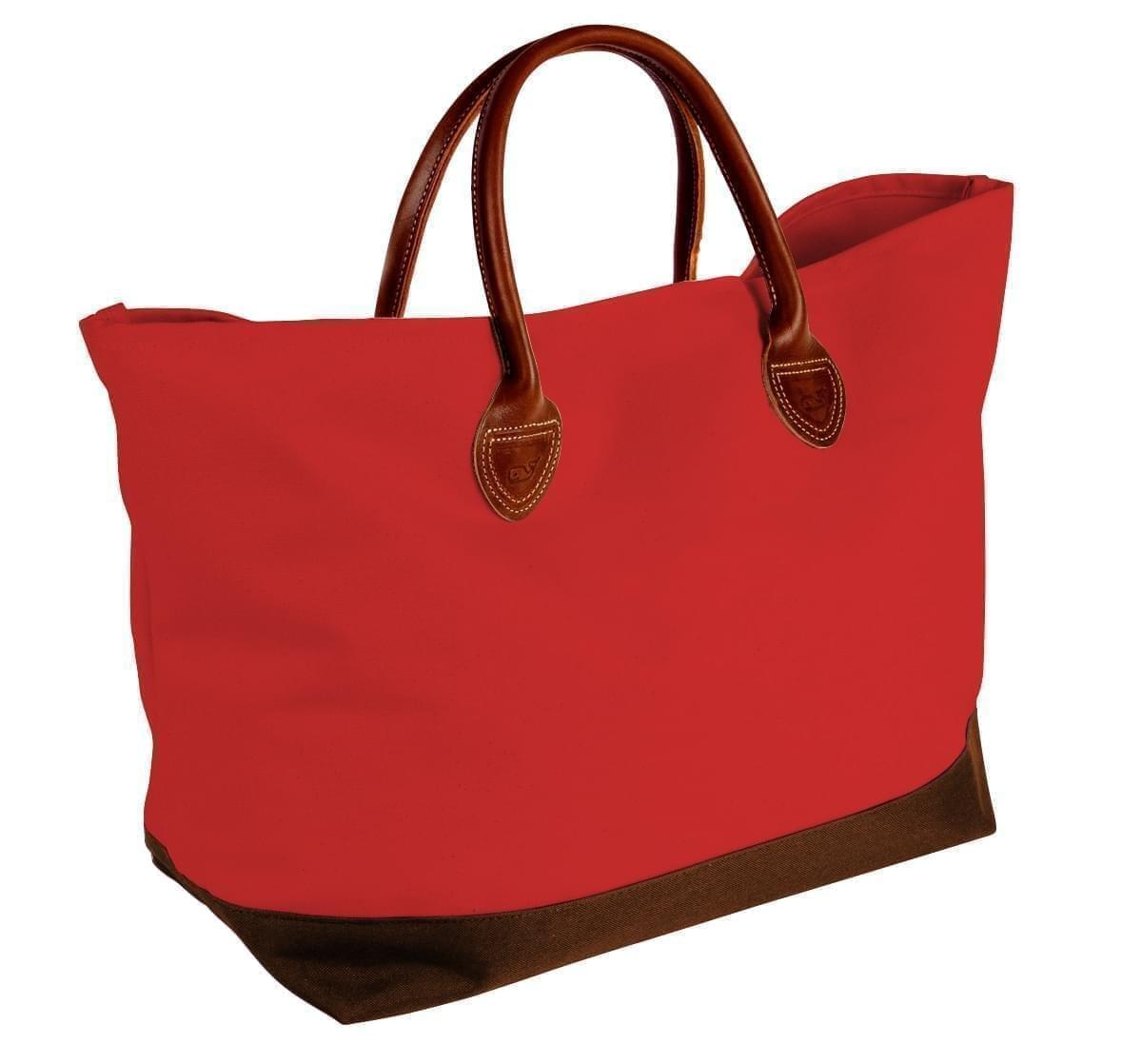 USA Made Canvas Leather Handle Totes, Red-Brown, 10899-DE9