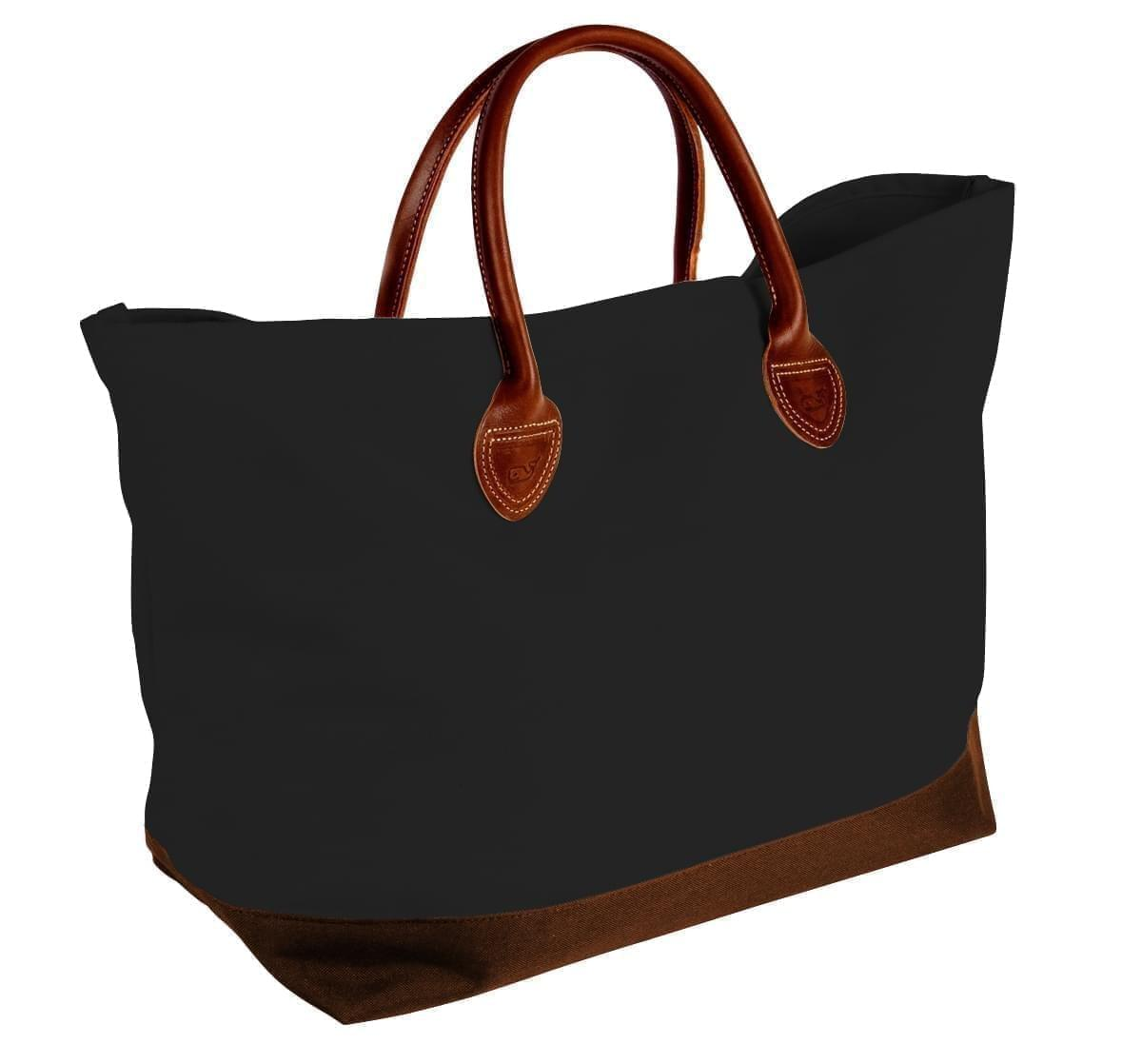 USA Made Canvas Leather Handle Totes, Black-Brown, 10899-DH9