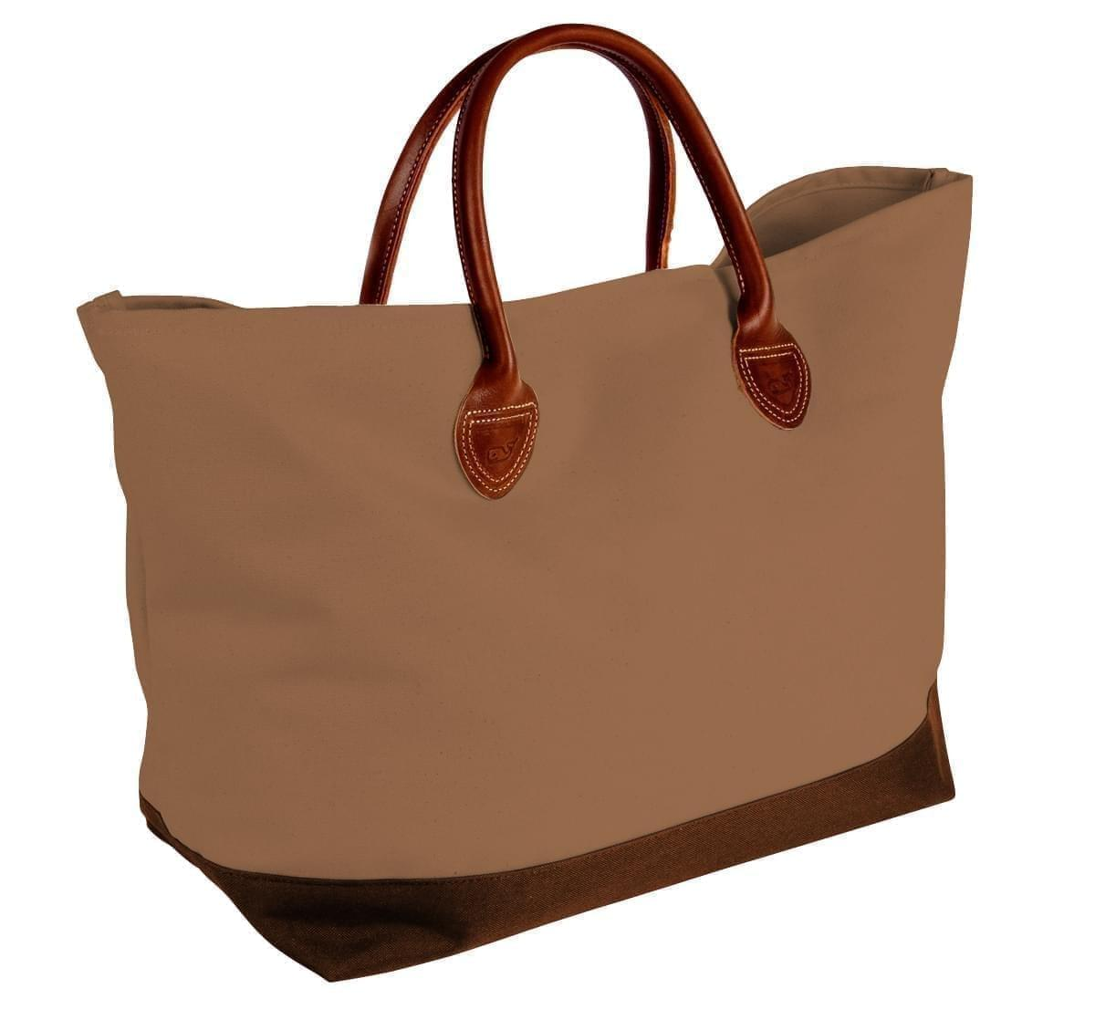 USA Made Canvas Leather Handle Totes, Khaki-Brown, 10899-DJ9