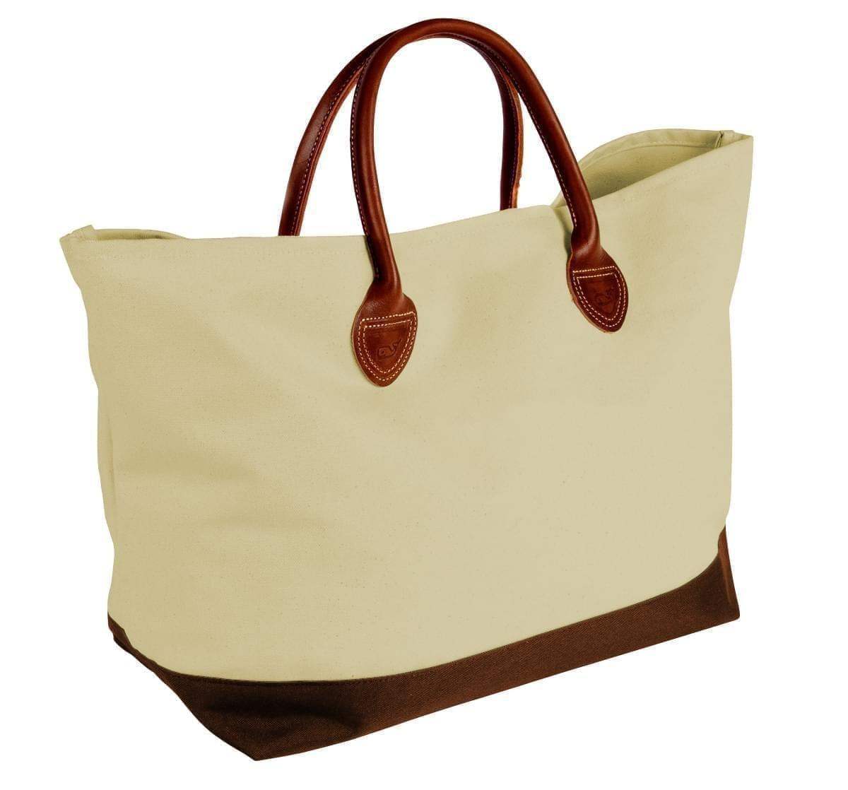 USA Made Canvas Leather Handle Totes, Natural-Brown, 10899-DK9