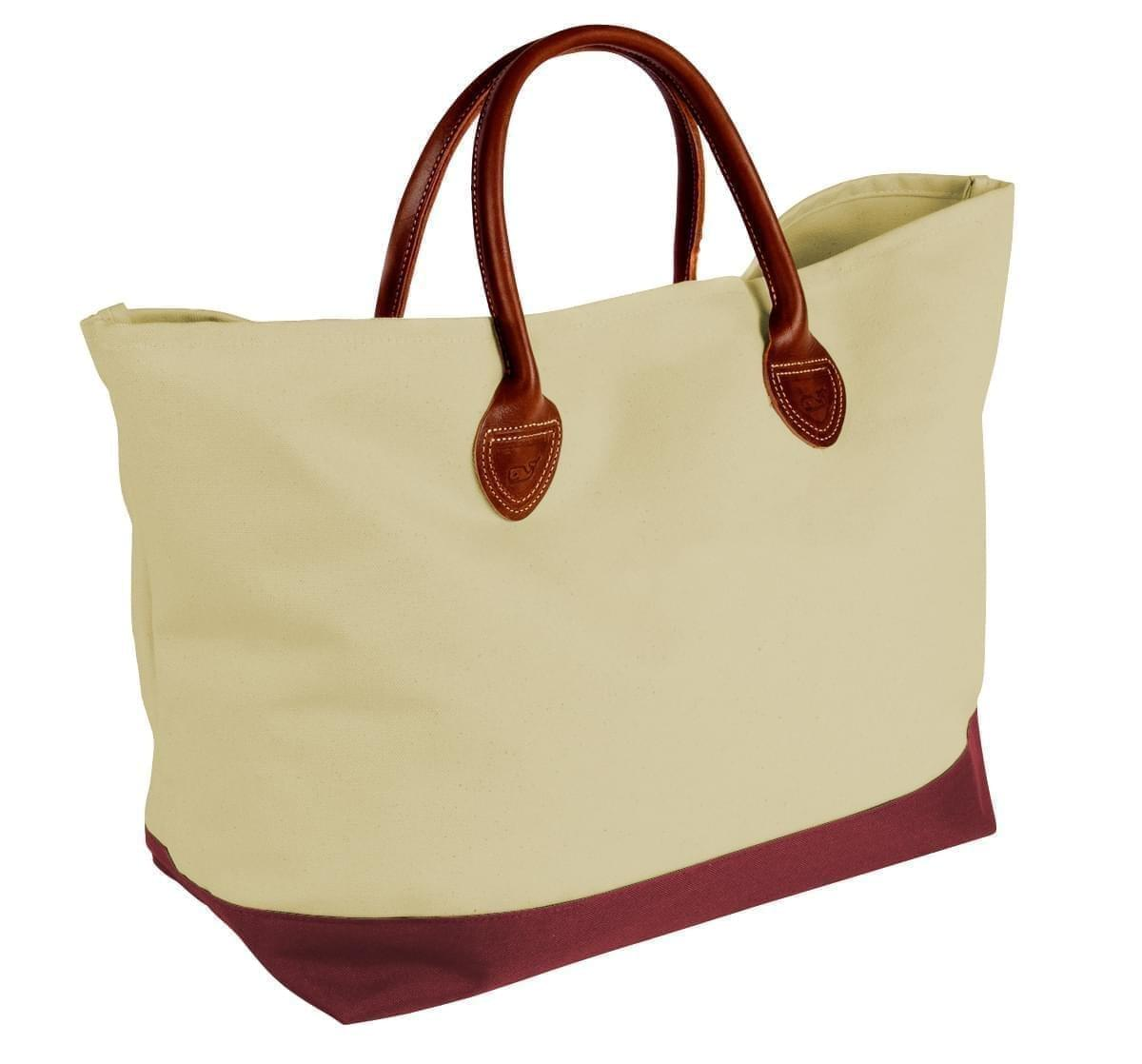 USA Made Canvas Leather Handle Totes, Natural-Burgundy, 10899-EK9