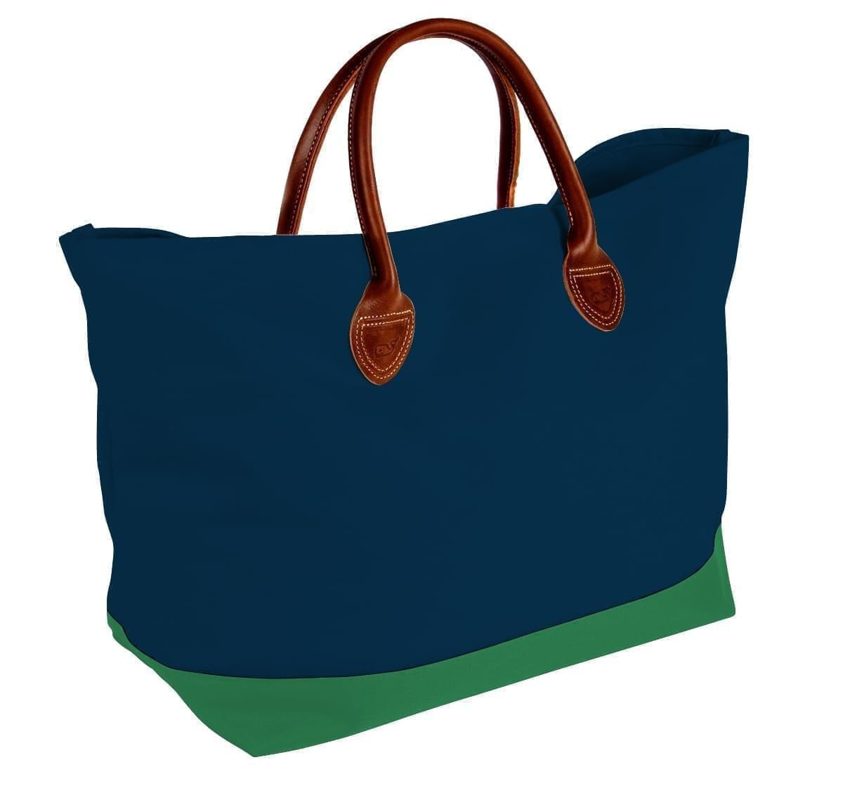 USA Made Canvas Leather Handle Totes, Navy-Kelly Green, 10899-HC9