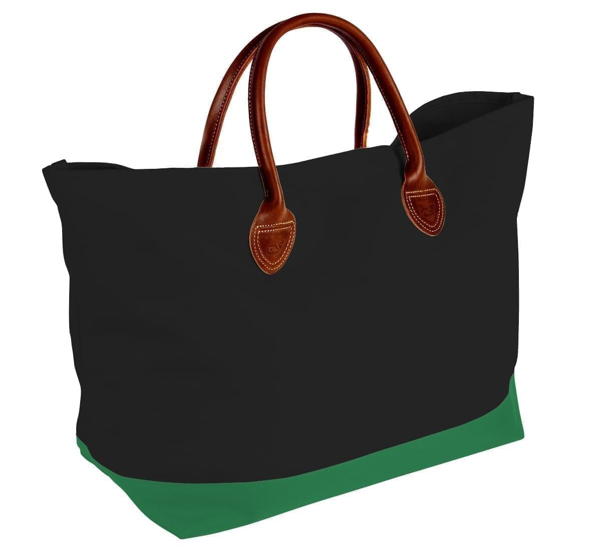 USA Made Canvas Leather Handle Totes, Black-Kelly Green, 10899-HH9