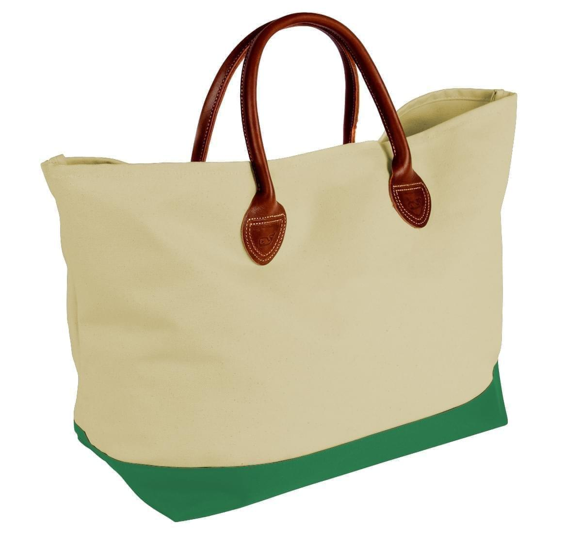USA Made Canvas Leather Handle Totes, Natural-Kelly Green, 10899-HK9