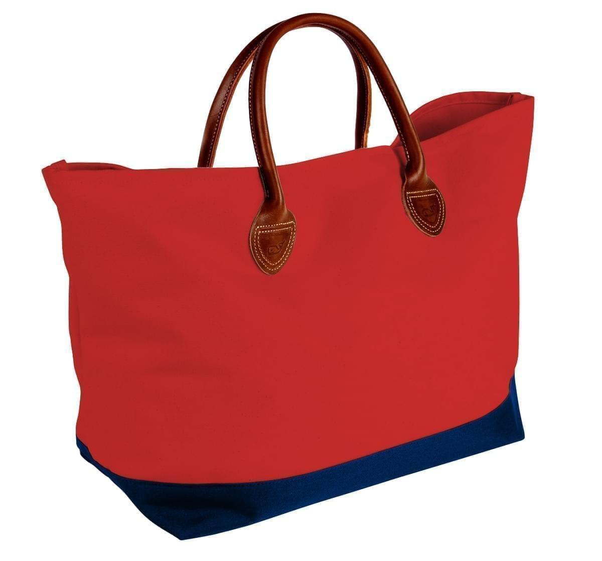 USA Made Canvas Leather Handle Totes, Red-Navy, 10899-IE9