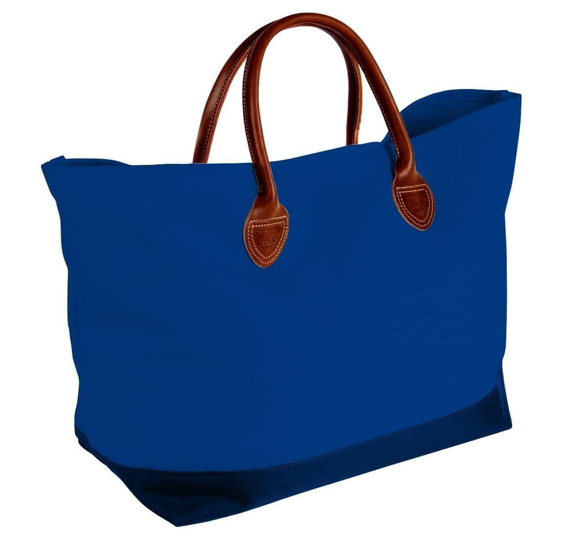 USA Made Canvas Leather Handle Totes, Royal Blue-Navy, 10899-IF9