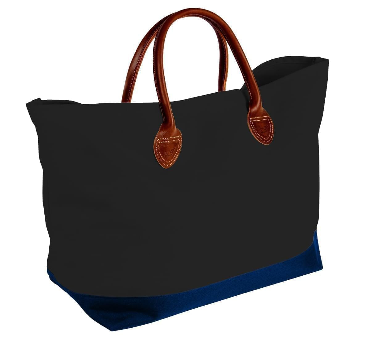 USA Made Canvas Leather Handle Totes, Black-Navy, 10899-IH9