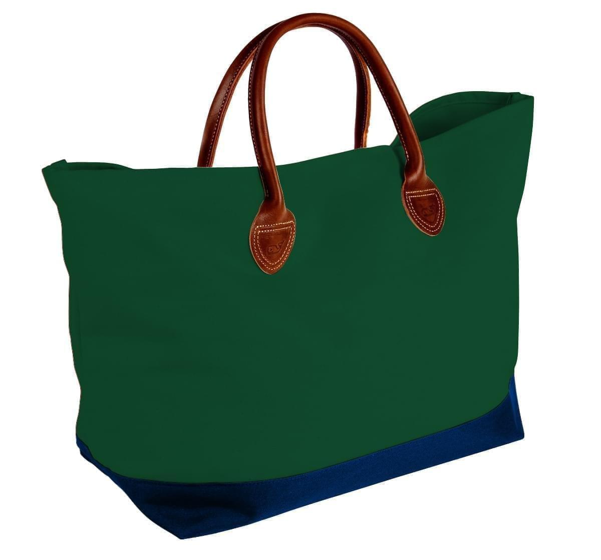 USA Made Canvas Leather Handle Totes, Hunter Green-Navy, 10899-II9