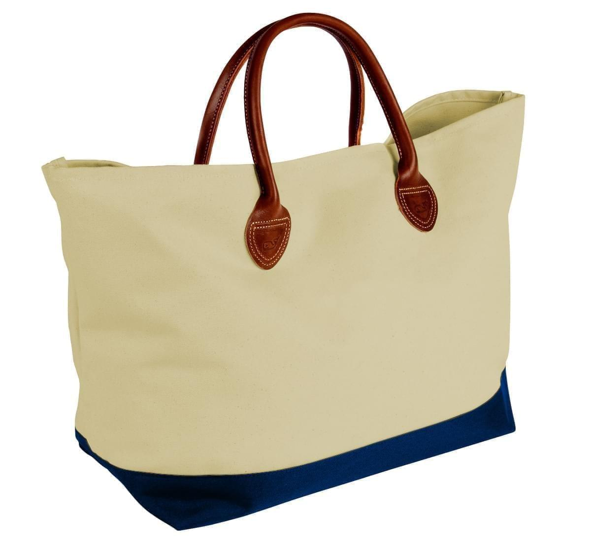 USA Made Canvas Leather Handle Totes, Natural-Navy, 10899-IK9