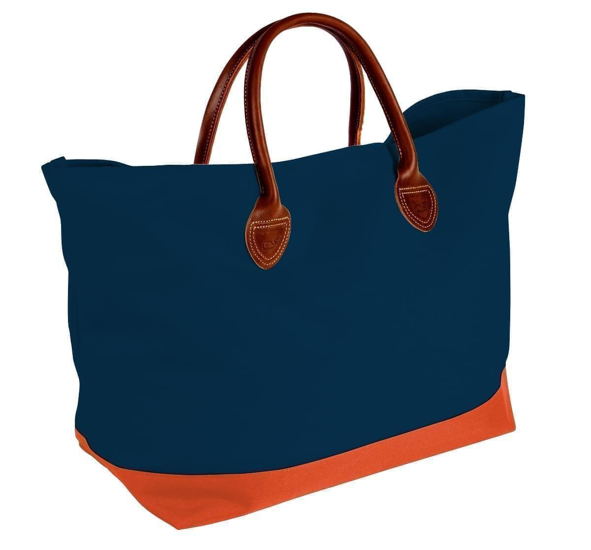 USA Made Canvas Leather Handle Totes, Navy-Orange, 10899-JC9