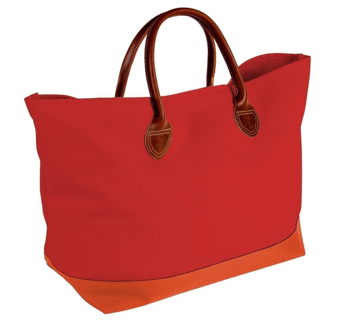 USA Made Canvas Leather Handle Totes, Red-Orange, 10899-JE9